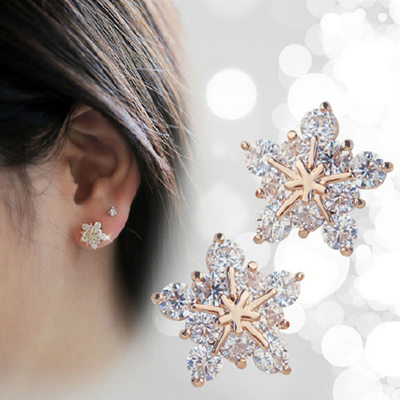 2019 New Fashion Rhinestone Crystal Rose Gold Stars Stud Earring Cute Winter Snowflake Earrings Fine Jewelry For Women