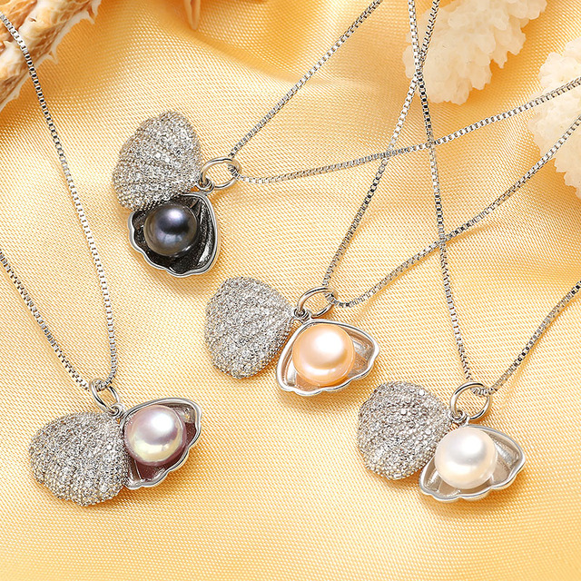 Natural Freshwater Shell Pearl Pendants High Luster Pearl Jewelry Necklace For Girlfriend Gift