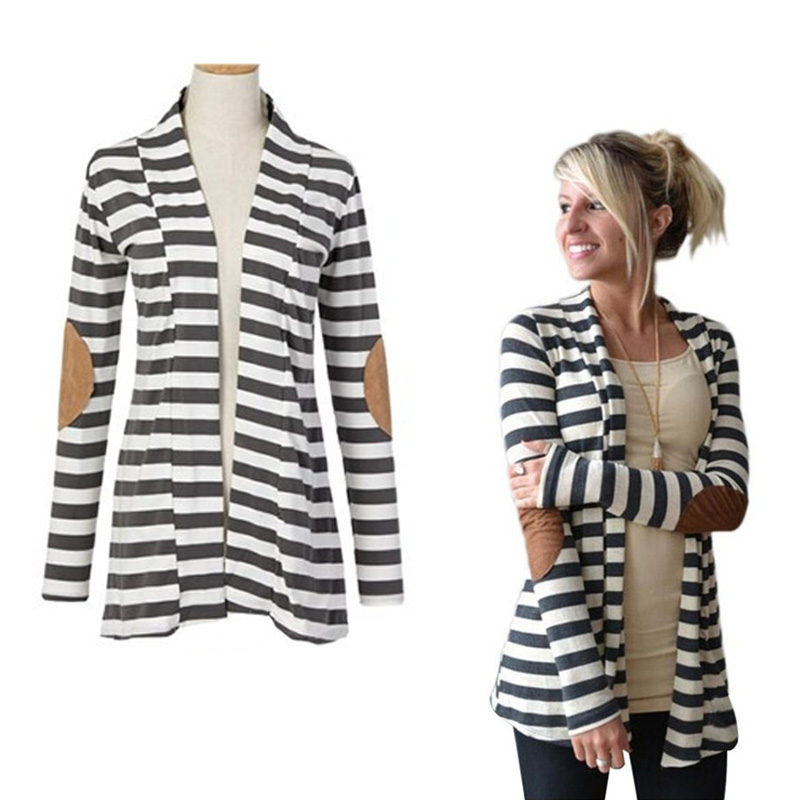 2017 Spring font b Women b font Casual Loose Jackets Long Sleeve Striped font b Coat
