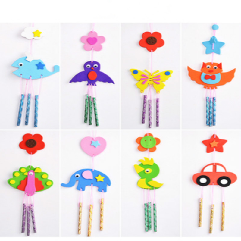 8pcs Kids DIY Fabric Aeolian Bells Craft Toy Kid Handmade Wind Chime Children Early Educational Puzzle Random Patterns