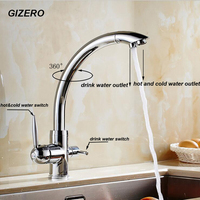 GIZERO Contemporary Basin High Quality Drinking Water Faucet Kitchen Swivel Hot and Cold Filter Water Faucet Chrome Polish ZR654