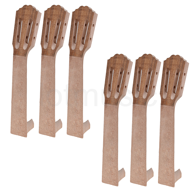 6x Neck for 23 Inch Ukulele Mahogany Wood Hawaii Guitar DIY Parts for Luthier