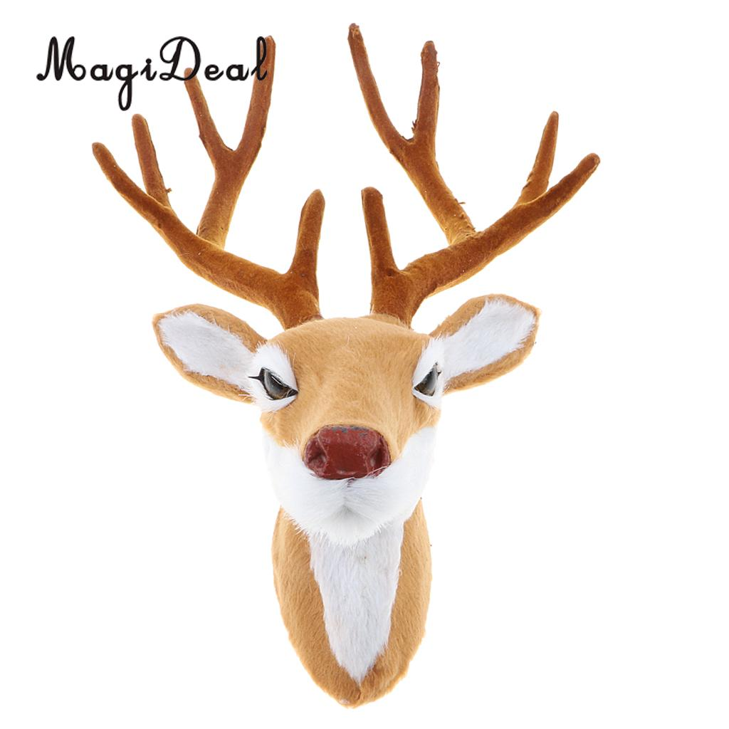 Realistic Stuffed Deer Head Model Toy Faux Fur Animal Wall Hanging Decoration Home Christmas Party Ornament Gift