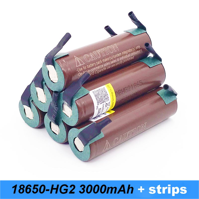 battery 18650 HG2 3000mAh with strips soldered batteries for screwdrivers and electric cigarette mod 18650 bike battery a7