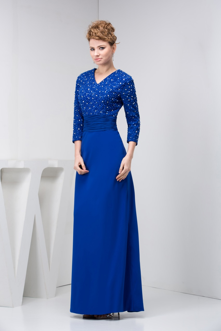 Elegant Blue Mother of the Bride Dresses 2017 New Three Quarters Sleeves Formal Wedding Guest Evening Gowns 1