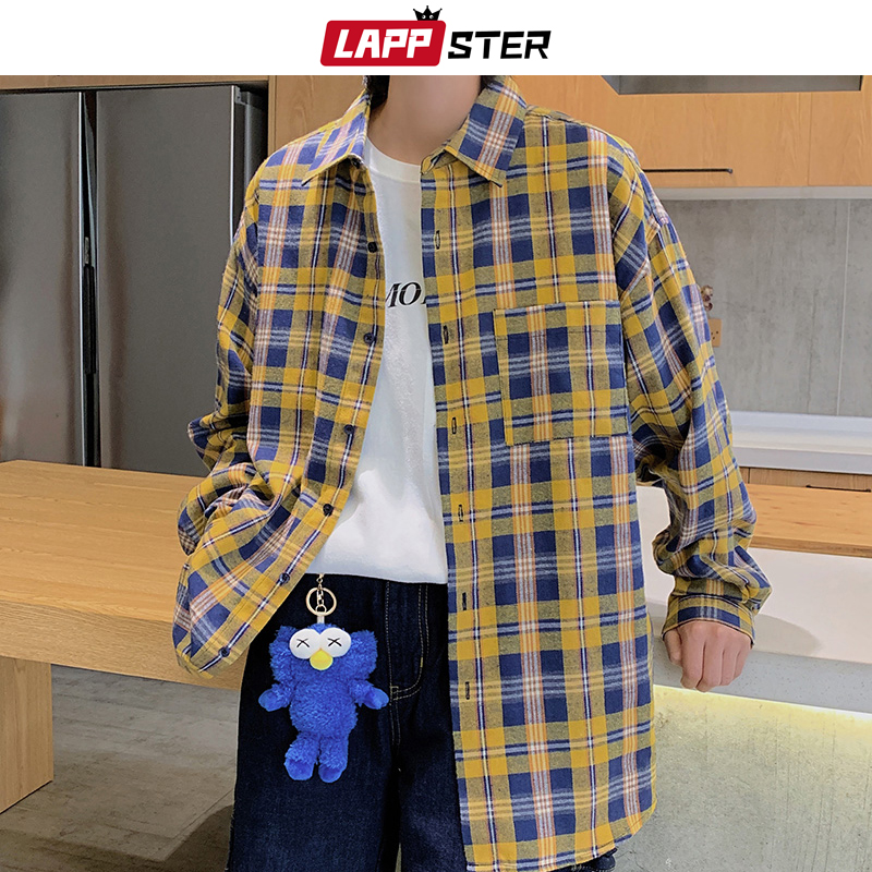 LAPPSTER Men Kpop Plaid Shirt Long Sleeve 2019 Man Harajuku Streetwear Hip Hop Shirts Button Up Oversized Cotton Shirt Plus Size