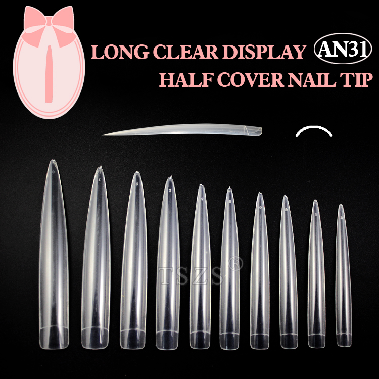 10bag/lot Clear Long Nail Tip Pointed stiletto fake nails