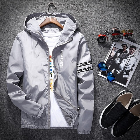 2018 Spring Autumn New Fashion Slim Fit Young Men Hooded Jacket Thin Jackets Brand Casual Windbreaker Top Quality Lahore
