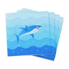 ROSENICE 20 шт. салфетки для дня рождения с принтом акулы бумажное полотенце для дня рождения фестиваль кухонные аксессуары