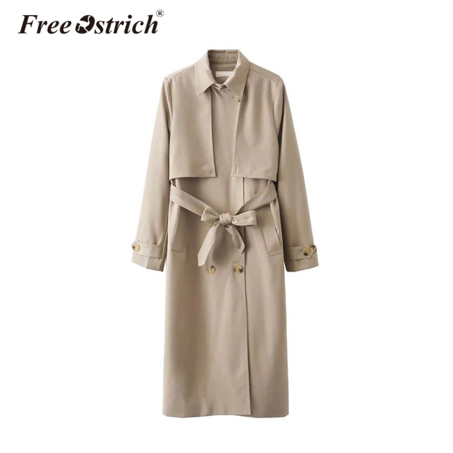 Free Ostrich 2019   Trench   Coat Woman Classic Autumn Winter Outerwear with Belt Turn Down Collar Cloak Casual   Trench   Sep19