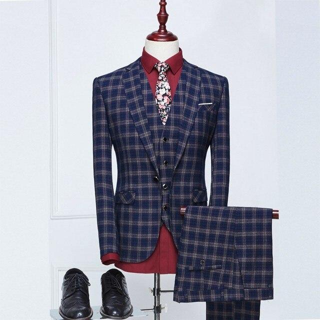 (Jacket + Pant + Vest) Juegos de Negocio de los hombres Slim Fit Vestido de Traje de Moda Marca Formal Tuxedo Blazer Masculino Traje De Boda Para Hombres