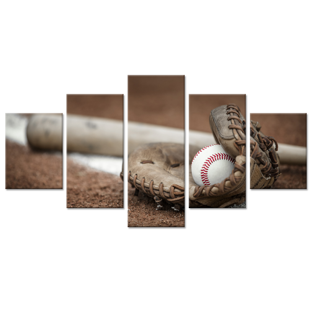 Sports Decor Large 5 Pieces Canvas Wall Art Baseball Bat