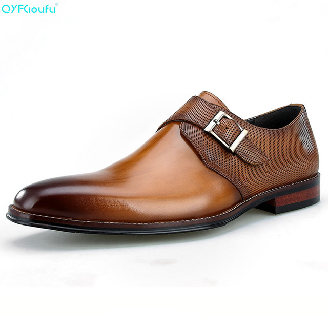 QYFCIOUFU Brand 100% Genuine Leather Monk Strap Shoes For Men Oxfords Handmade Designers Formal Classic Embossing Dress Shoes