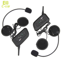 2016 Hot Sale 2pcs V6 Helmet Intercom 6 Riders 1200M Motorcycle Bluetooth EU Plug Interphone Wireless