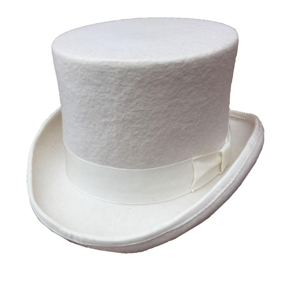 13 5cm 5 1 4 White Wool Felt Groom Wedding Hat Top Hat High Topper For