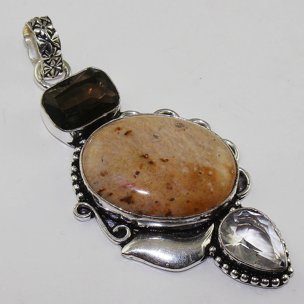 Jaspers & White Topas & Smoky Quarts Pendant Silver Overlay over Copper ,74mm, P1597