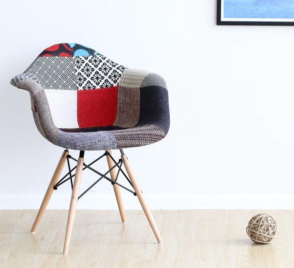 salon chaise de loisirs rembourree fauteuil patchwork tissu couverture souple rembourre en plastique et bois chaise moderne meubles de maison dans chaises