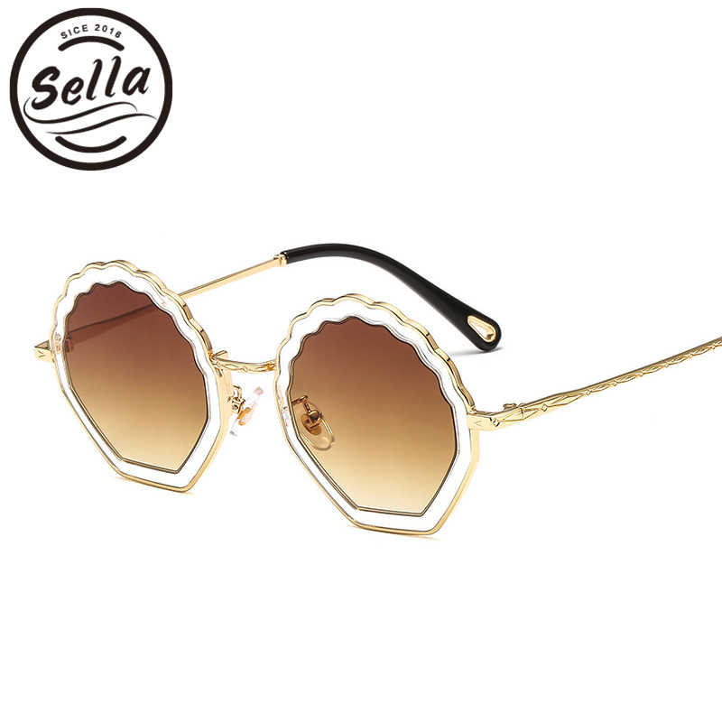 244c3497b0d ... Sella Luxury Brand Women Sunglasses Alloy Frame Candy Color Gradual Tint  Lens Irregular Shell Shape Ladies ...