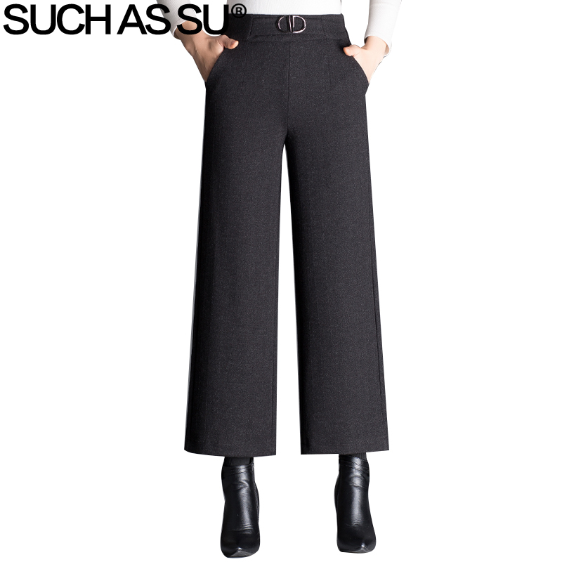 New Autumn Winter Woolen   Wide     Leg     Pants   2018 Black Elastic High Waist Trousers For Women M-4XL Size Loose Office Lady   Pants