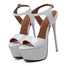 Size 34-40 Pu Leather High Heels Sandals 16cm Stripper Shoes Summer Wedding Party Shoes Women Gladiator Platform Sandals
