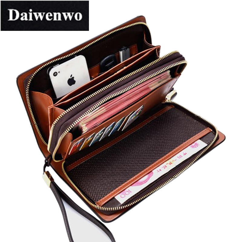 M49 Famous Designer Brand High Quality Men Wallet Double Zipper High Capacity Storage Passport Card Money Clip Long Wallet Purse  bvlriga women wallets famous brand leather purse wallet designer high quality long zipper money clip large capacity cions bags