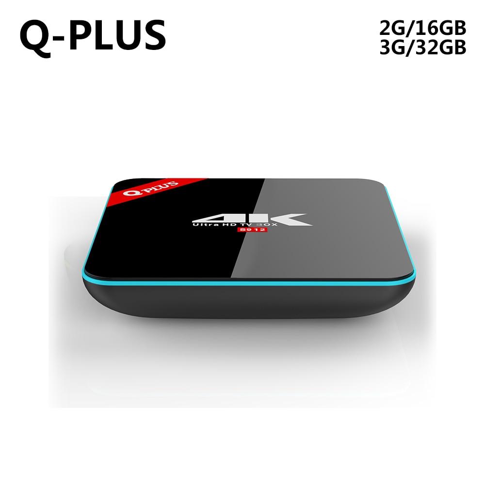 Q Plus Amlogic S912 Android 6.0 RAM/ROM 2GB/3GB 16GB/32GB Octa Core Dual WiFi Smart Set Top Box Media Player 4K H.265 3gb ram 32gb rom android 7 1 tv box csa93 amlogic s912 octa core 2gb 16gb wifi bt4 0 4k 1000m lan streaming smart media player