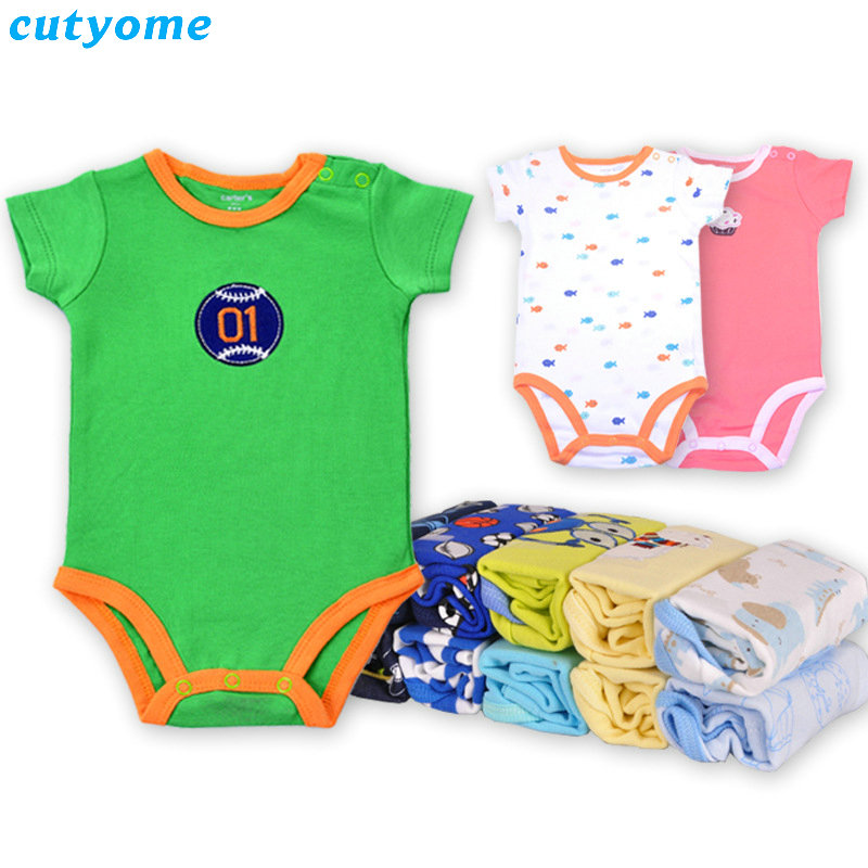 Infant Newborn Baby Boys Girls Unisex Cartoon Bodysuits Cotton Short Sleeve Bebes Jumpsuits Summer Clothes Kids Playsuit Sunsuit