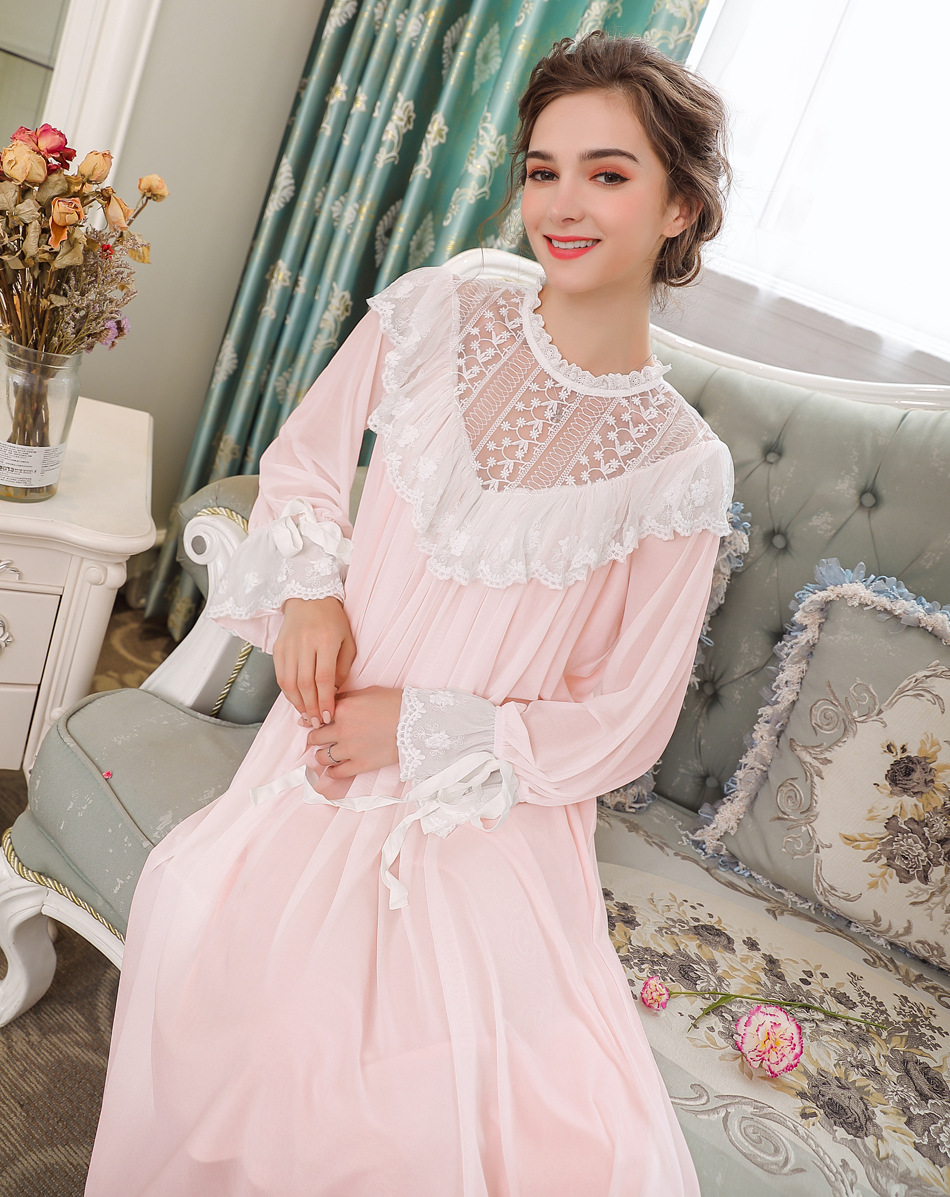 New Lace Turtleneck Nightdress Women Long   Nightgowns   Ruffles   Sleepshirts   Nightwear Sleepwear Dress French Court Princess