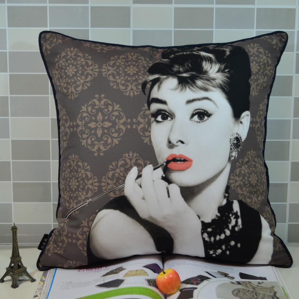 e54ee5a11 45 cm   45 cm retro Audrey Hepburn impreso cojín funda de almohada para el  sofá