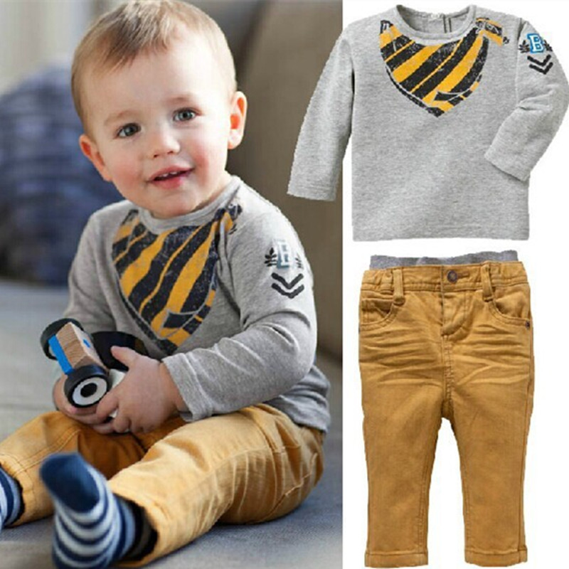 New 2017 Kids Clothing Sets Long Sleeve T-Shirt + Pants, Autumn Spring Children's Sports Suit Boys Clothes Free Shipping  retail brand print boys clothing set spring autumn new kids sports suit long sleeve top