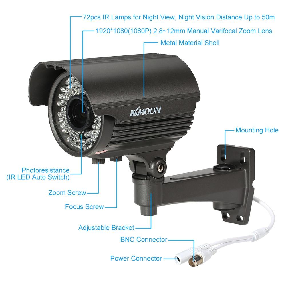 KKmoon HD 1080P 2.0MP Dome CCTV Camera Waterproof 2.8~12mm Varifocal Lens IR-CUT