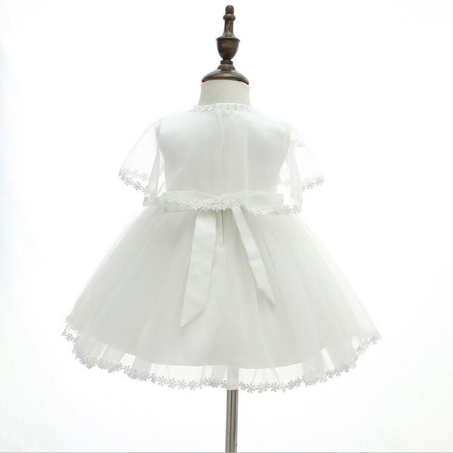 8653bf6a450 3PCs per Set Baby Girl Baptism Dress White Infant Girl Christening Gown  Lace Embroidered Cape Hat 0 24Months Flowers Decoration-in Dresses from  Mother ...