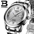 Relógios homens de luxo da marca suíça binger relógios de pulso luminoso bg-0383-1 automatic self-vento cheio de aço inoxidável à prova d' água