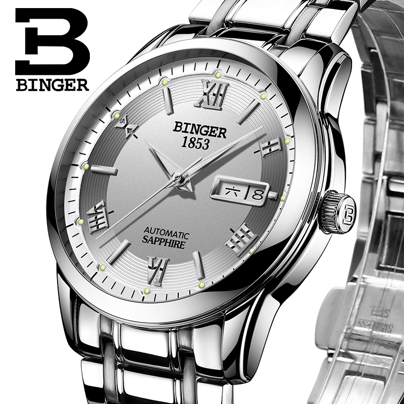 Switzerland watches men luxury brand Wristwatches BINGER luminous Automatic self-wind full stainless steel Waterproof  B-107M-1 switzerland men s watch luxury brand wristwatches binger luminous automatic self wind full stainless steel waterproof b106 2