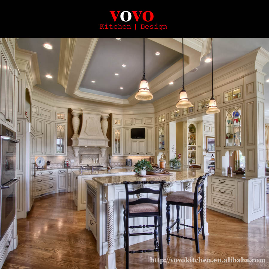 Off White Solid Wood Kitchen Cabinets-in Kitchen Cabinets