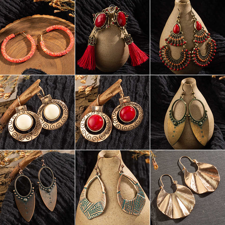Vintage Ethnic Bohemian Earrings for Womens Jewelry Big Round Circle Geometric Sequins Red stones Drop Earring Brincos Bijoux
