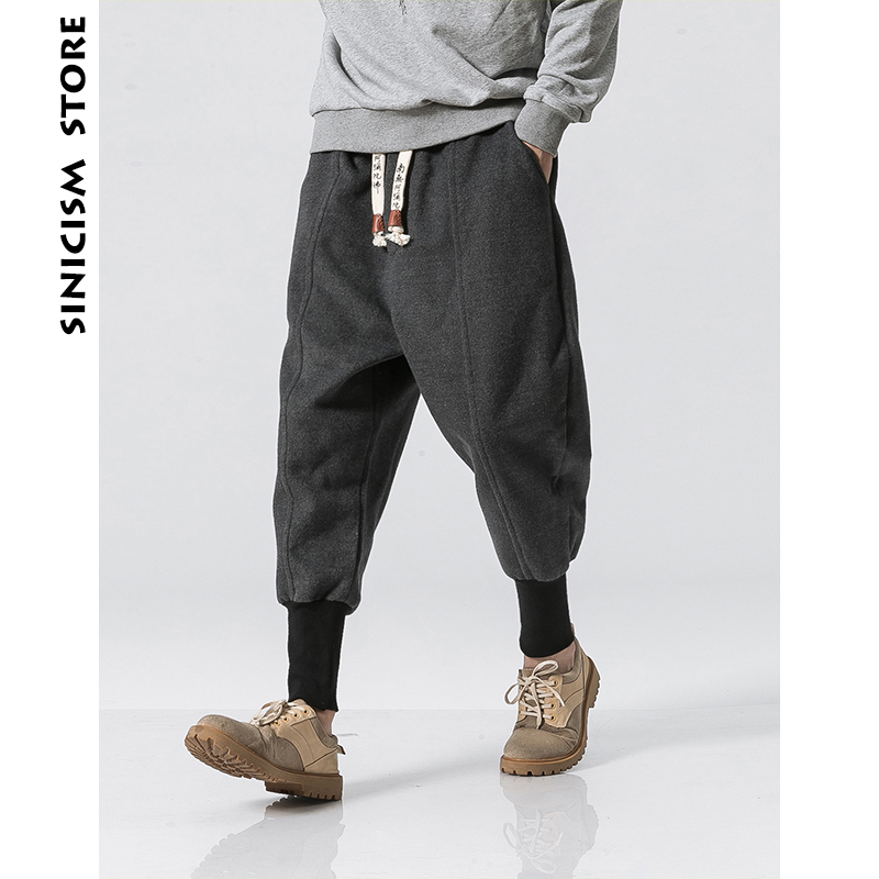 Sinicism Store Winter Pants Men 2019 Mens Harajuku Ankle Banded Joggers Pants Male Streetwear Thick Chinese Style Sweatpants 5XL