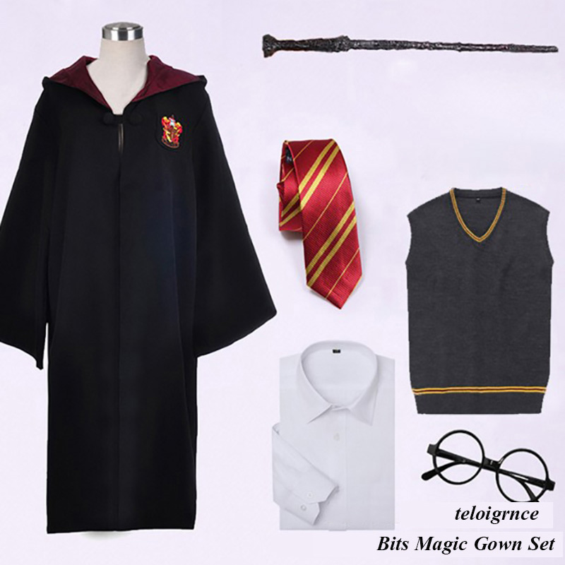 US $4 24 15% OFF|Harris Potter Costume Clothes Robe Cloak with Tie Scarf  Wand Glasses Ravenclaw Gryffindor Hufflepuff Slytherin Cosplay-in Action &