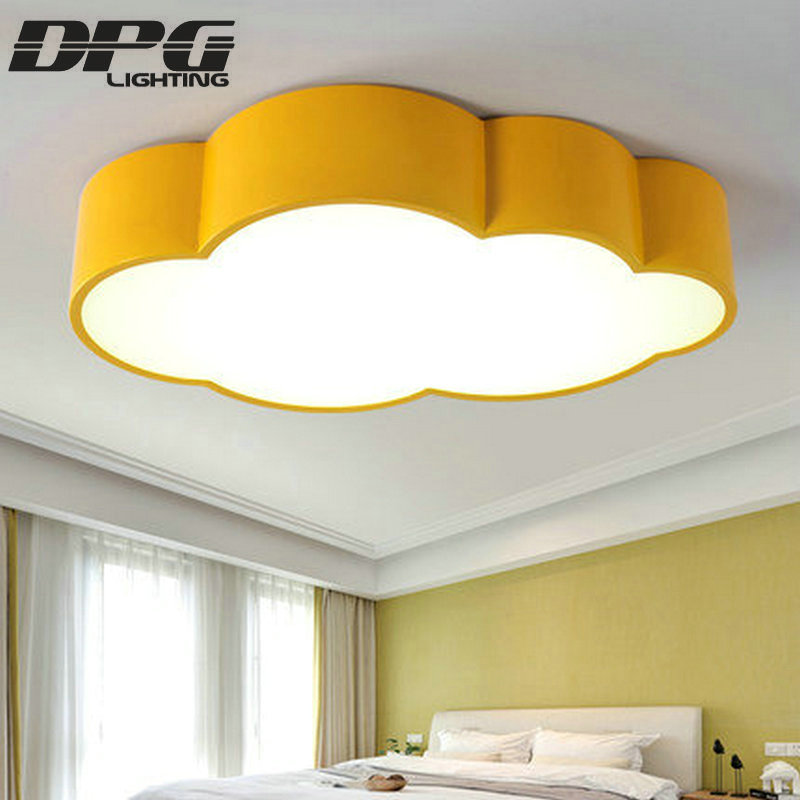 Us 76 5 50 Off Led Cloud Kids Room Lighting Children Ceiling Lamp Baby Light With Yellow Blue Red White For Boys S Bedroom Fixtures In