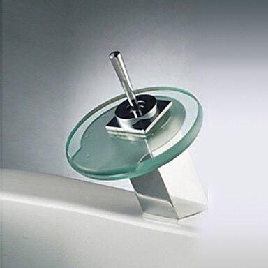Color Changing LED Waterfall Bathroom Sink Basin Faucet Tap (Round Spout),Torneira Para De Banheiro Modocomando