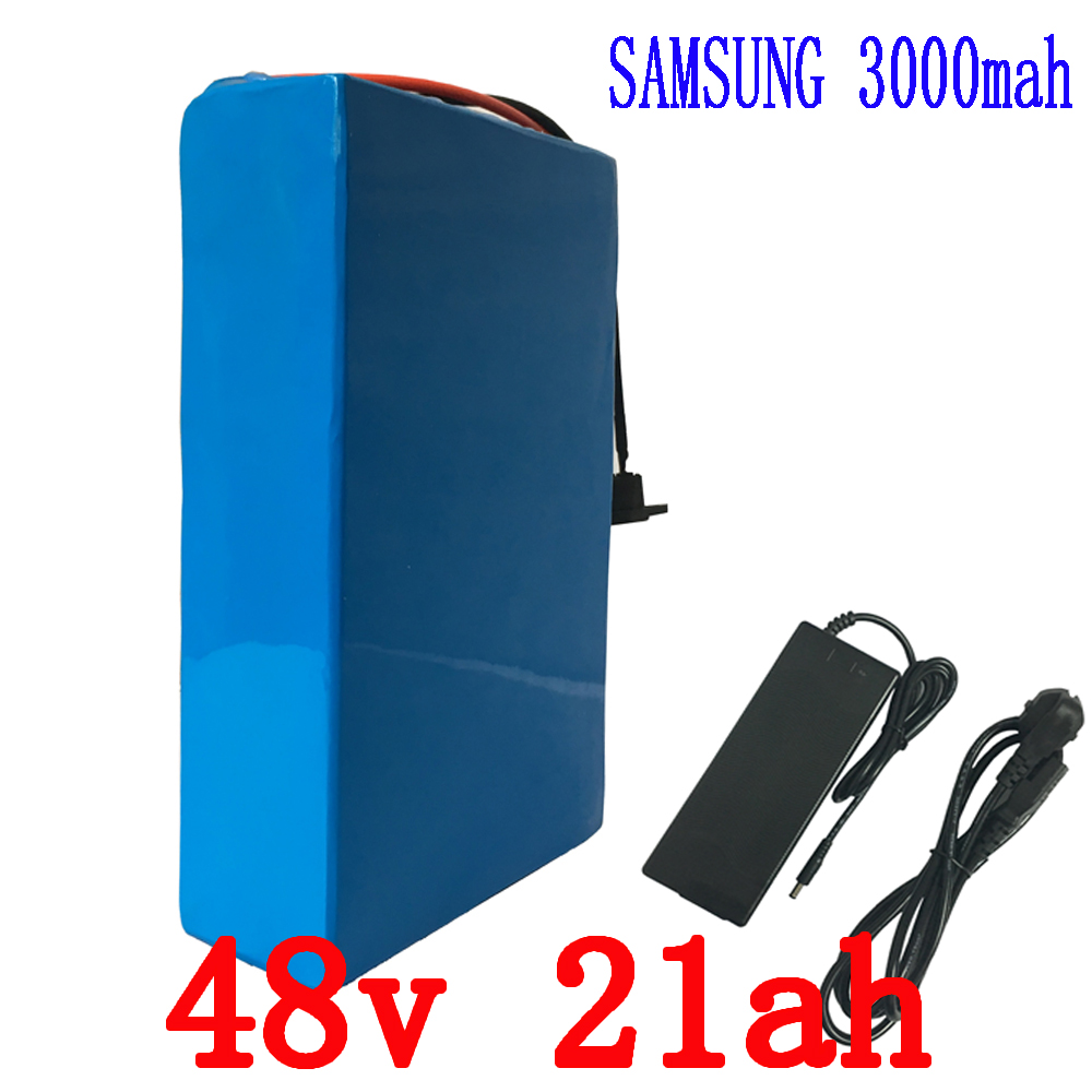eBike Battery 48v 21ah 1800w  use for Samsung 3000mah Cells Built in 50A BMS with 2A Charger Lithium Battery 48v Free Shipping 48v 15ah li ion ebike battery 750w 48v 15ah bottle battery pack use samsung 3000mah cell 20a bms with 2a charger