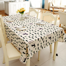 Customizable Linen Cotton Modern Simplicity Tablecloth Christmas Pine Tree deer Printed table cloth Wedding Washable Table Cover