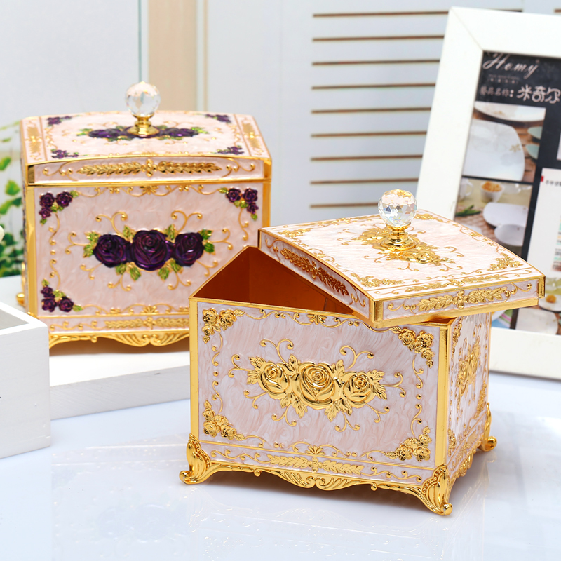 Europe metal Cosmetic storage box table jewelry storage boxes desktop organizer for home decorative Cotton swab box Z145