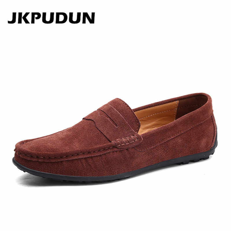 JKPUDUN Suede Leather Mens Casual Shoes marca de lujo 2019 hombres mocasines moda conducción zapatos Slipon mocasines hombres de talla grande Skor