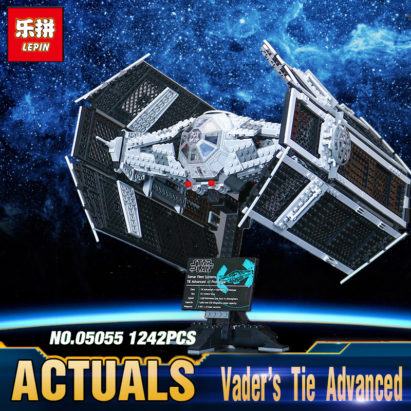 Star LEPIN 05055 Wars Vader TIE advanced fighter Toy aircraft Model Children Building Kit Blocks Bricks Compatible legoing 10175 lepin 05060 star series wars ucs naboo star type fighter aircraft model building blocks bricks compatible legoed 10026 toy gifts