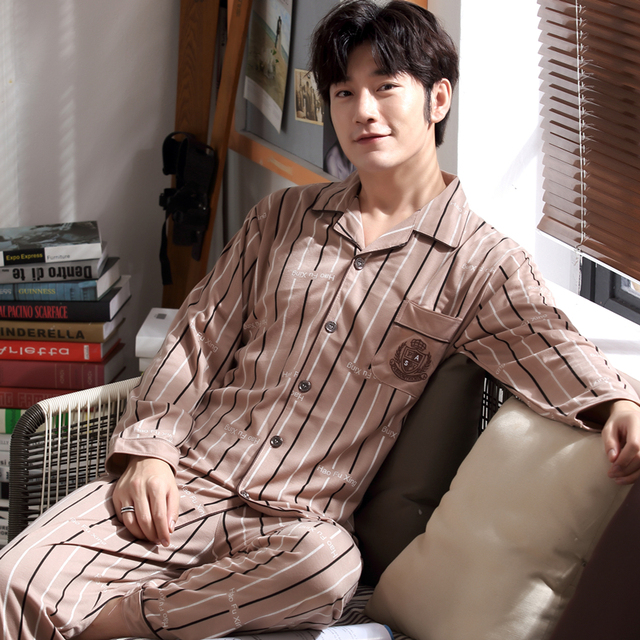 Autumn Winter Mens Pyjamas Cotton Striped Pajamas Long-sleeve Turndown  Collar Sleepwear Casual Men Pajama Set Plus Size L-3XL b79bf3801