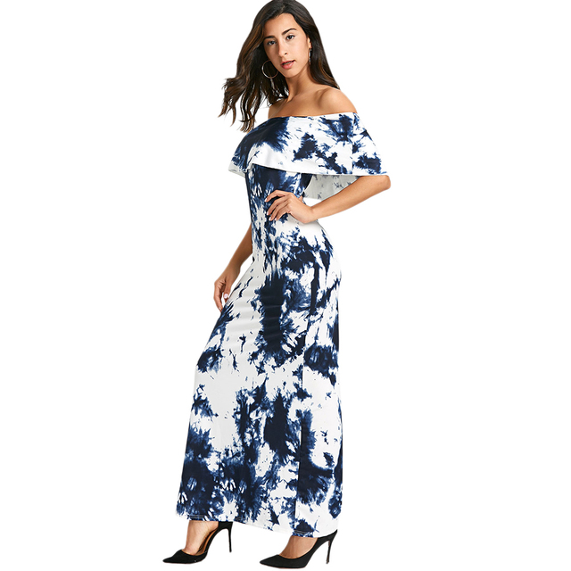 Kenancy Tie Dye Ruffled Off The Shoulder Maxi Dress Women Floral Print Sexy  Bodycon Long Dress Beach Dresses Vestidos 349eb070a8cb