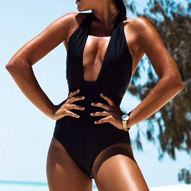 CUPSHE Eternal Mystery Solid One-piece Swimsuit Deep V neck Bikini Set Padded Ladies Bathing Suit Swimwear with Open Back