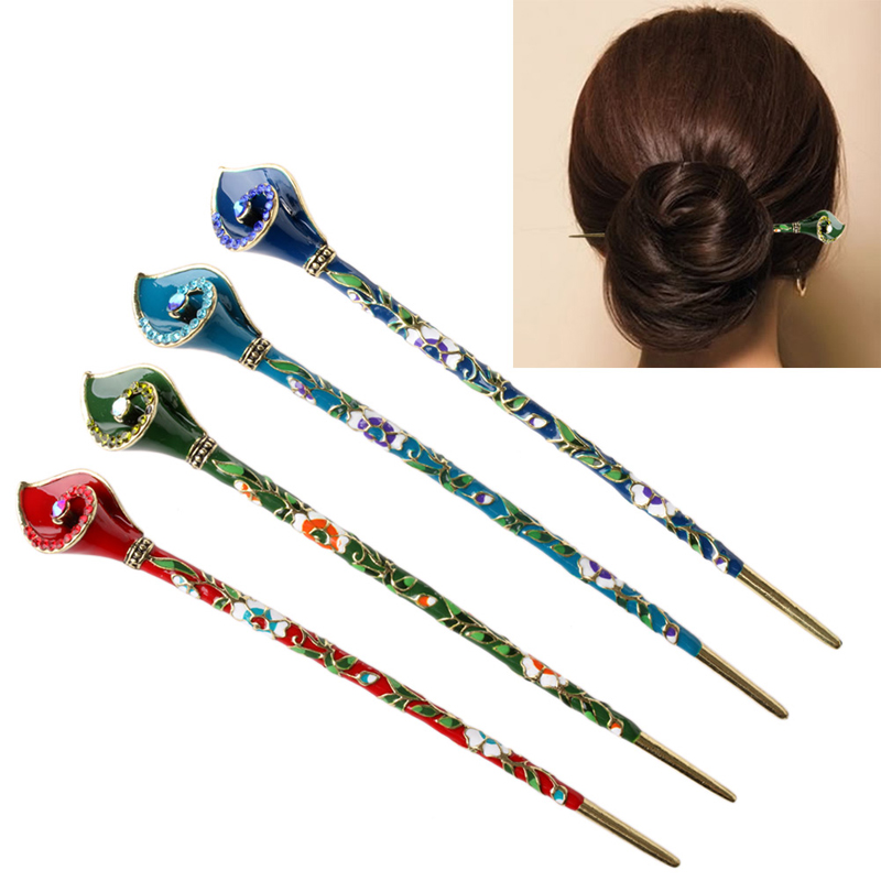 Chinoiserie Metal Hair Stick Rhinestone Hair Chopsticks