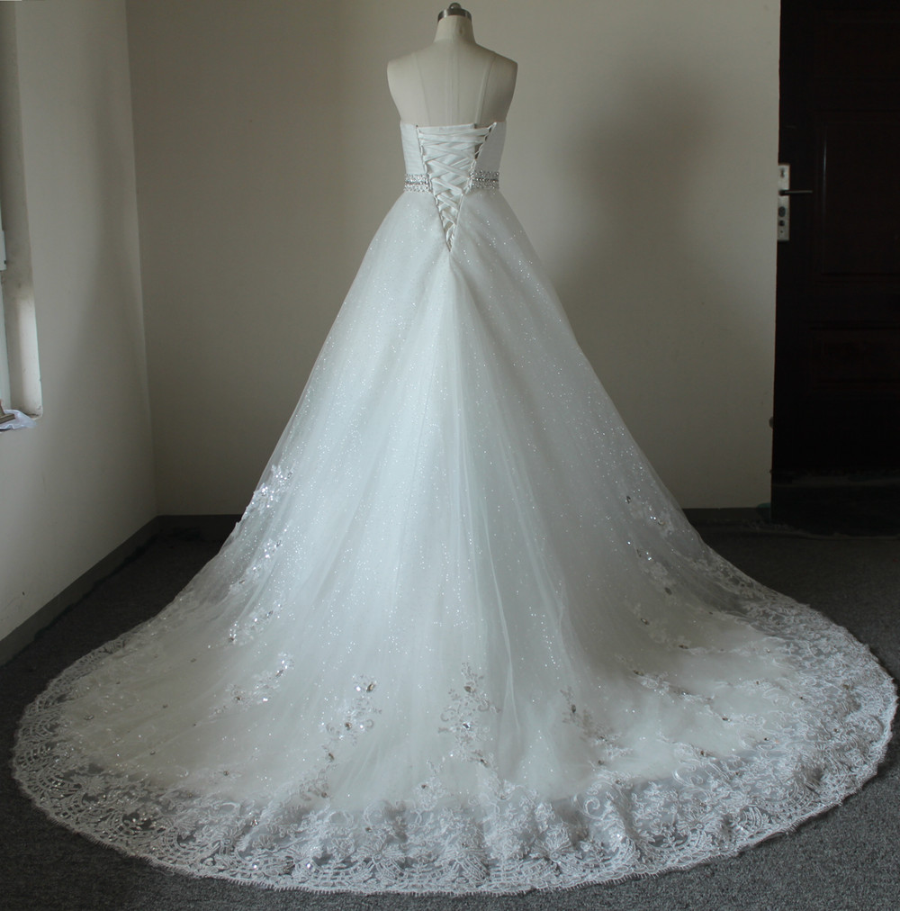 Real Photo Appliques Crystal Detachable Cathedral Train Wedding ...